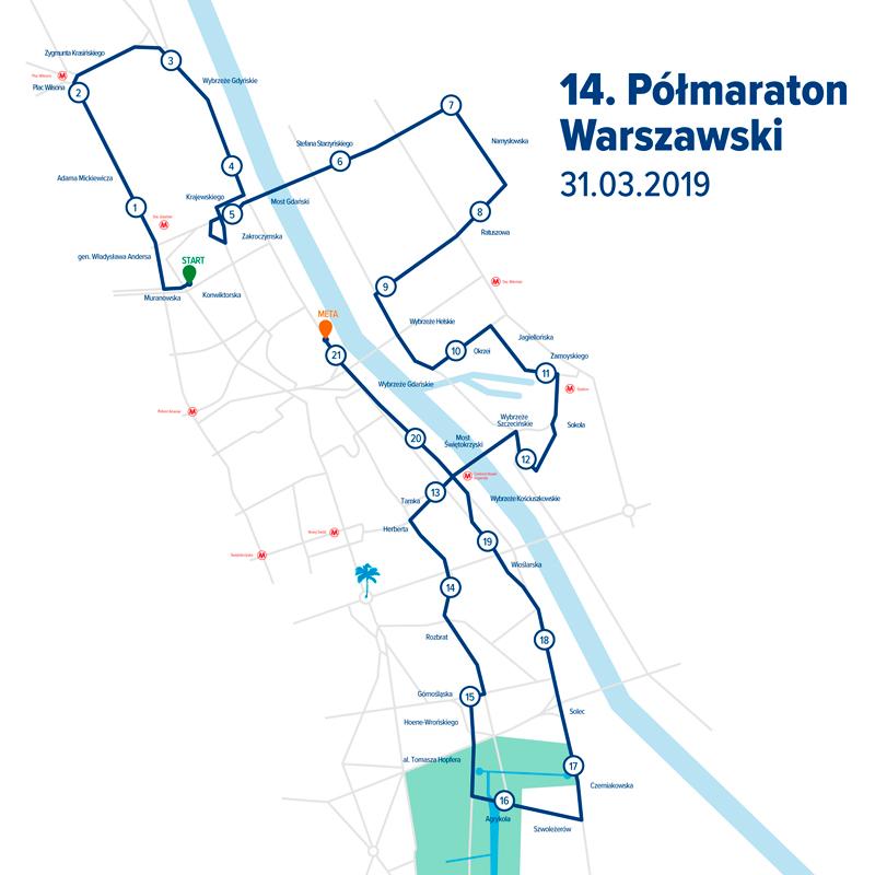 Trasa 14 polmaraton Warszawski