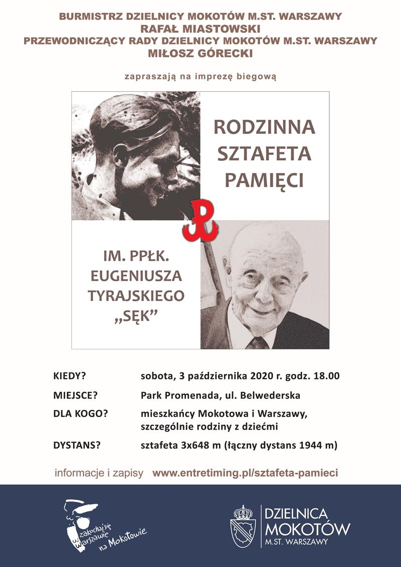 Plakat zapraszajacy na Rodzinną Sztafetę Pamieci 2020