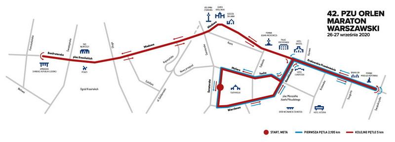 Trasa 42 Maraton Warszawski pl mala