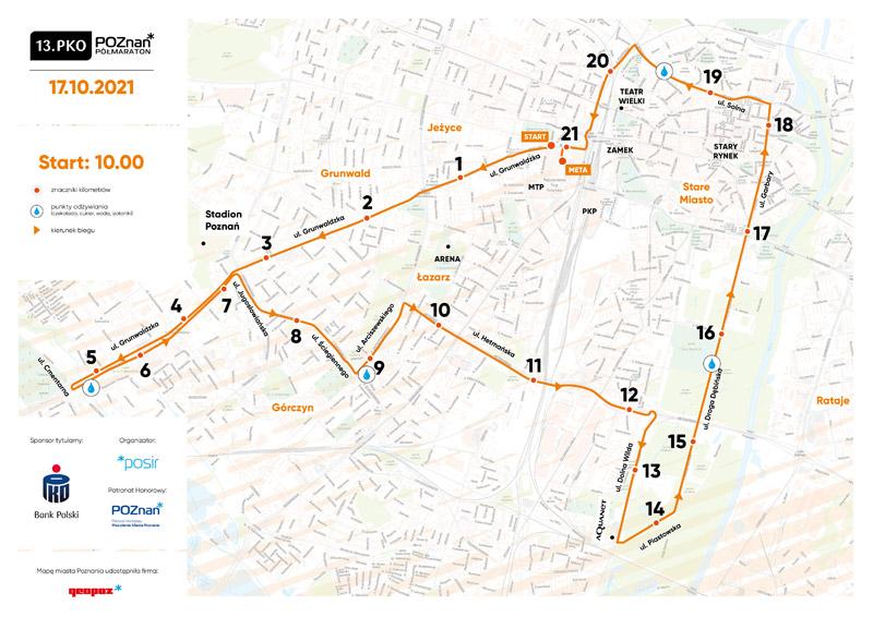 Trasa 13.PKO Poznań Półmaraton mala